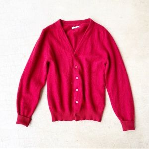 Vintage 100% Cashmere Red Golf Style Cardigan